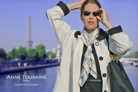 NAUTICAL grey:  silk twill scarf with a maritime theme by ANNE TOURAINE Paris™