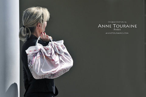 Pink Winter: a silk twill scarf  by ANNE TOURAINE Paris™ wrapping totally a handbag