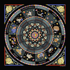 Astrology zodiac inspired silk scarf by ANNE TOURAINE Paris™; black color