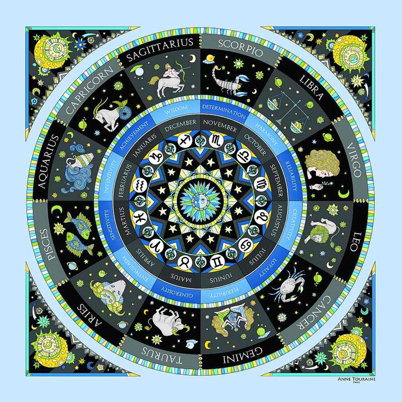 Astrology zodiac inspired silk scarf by ANNE TOURAINE Paris™; blue color