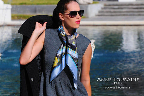Astrology zodiac inspired silk scarf by ANNE TOURAINE Paris™; blue color; perfect with a dark grey dress