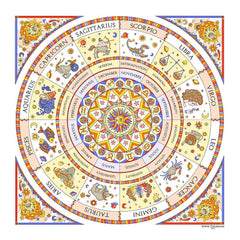 Astrology zodiac inspired silk scarf by ANNE TOURAINE Paris™; white color