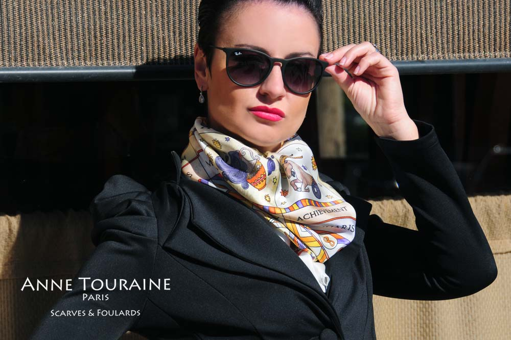 French silk scarves by ANNE TOURAINE Paris™: Zodiac astrology white scarf as a fluffy neck scarf