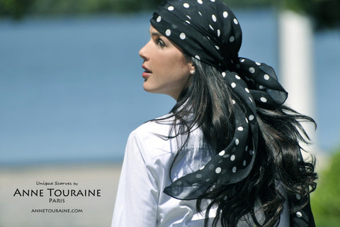Black polka dot scarf by ANNE TOURAINE Paris™ ties as a pirate head scarf