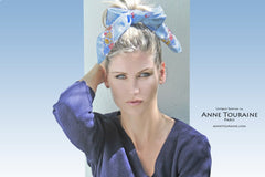 NAUTICAL blue silk scarf by ANNE TOURAINE Paris™. Fun as a trendy headband,