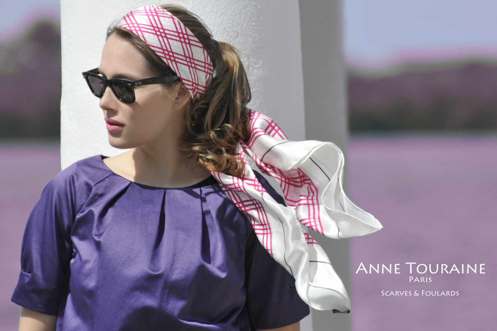 Extra large silk scarves by ANNE TOURAINE Paris™: pink and white silk satin scarf tied as a headband