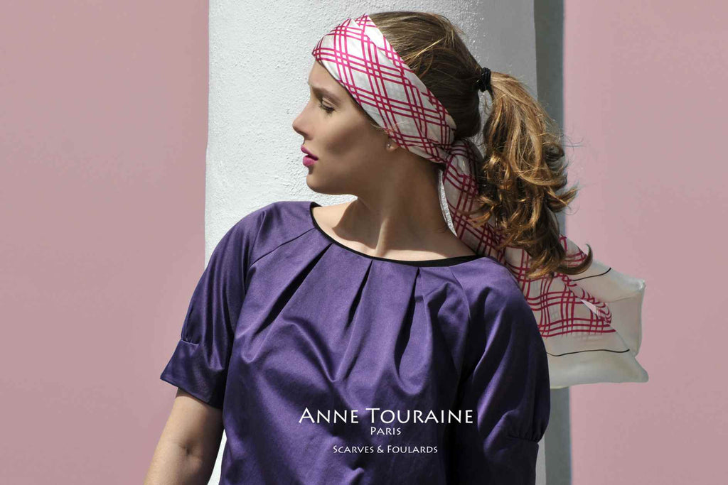 Extra large silk scarves by ANNE TOURAINE Paris™: pink and white silk satin scarf tied a headband