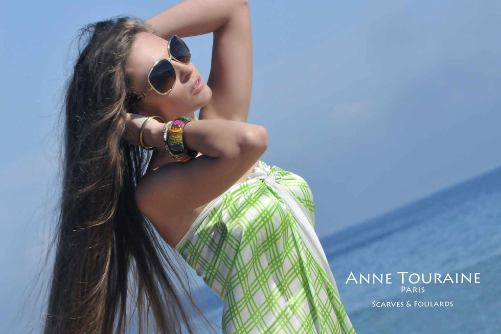 Extra large silk scarves by ANNE TOURAINE Paris™: green and white silk satin scarf as a summer cover up