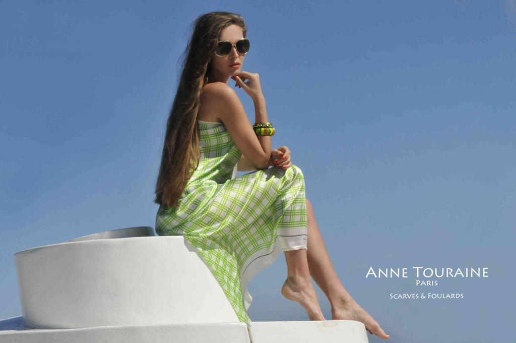 Extra large silk scarves by ANNE TOURAINE Paris™: green and white silk satin scarf tied as a swimsuit cover-up