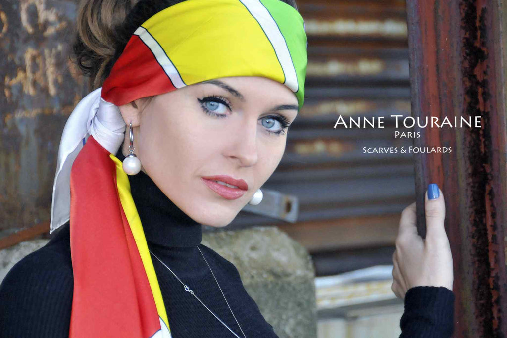 Extra large silk scarves by ANNE TOURAINE Paris™: multicolor silk satin scarf tied as a large headband