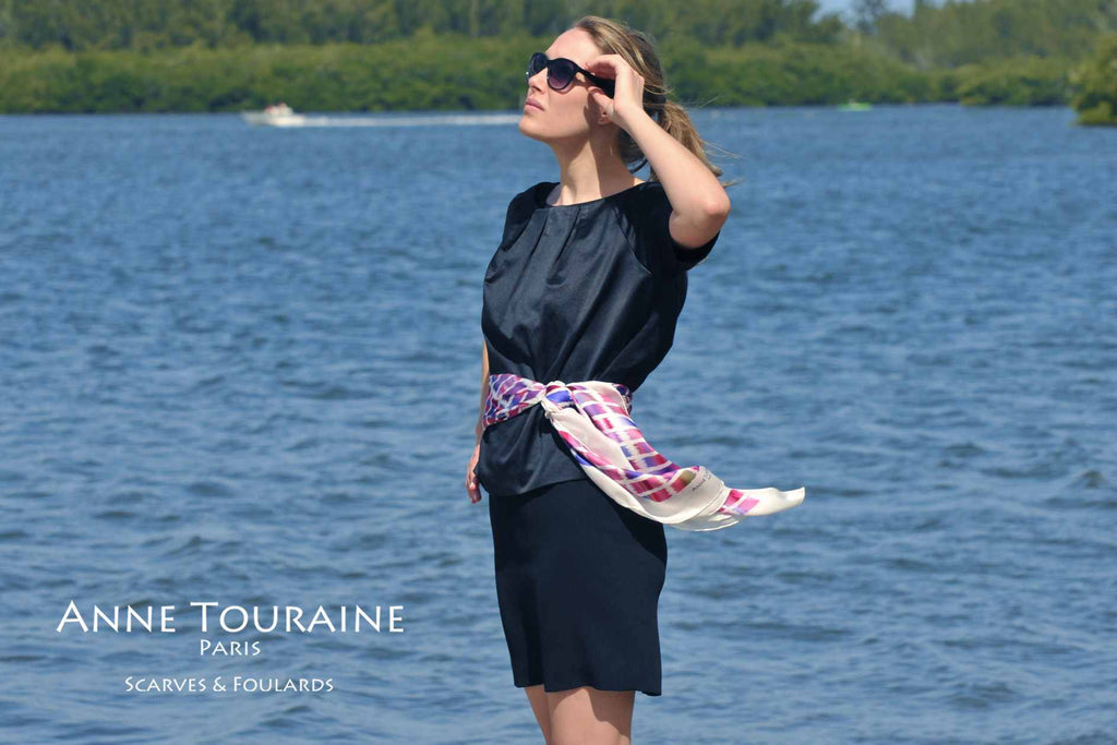 Extra large silk scarves by ANNE TOURAINE Paris™: pink and blue silk satin scarf tied as flowing belt