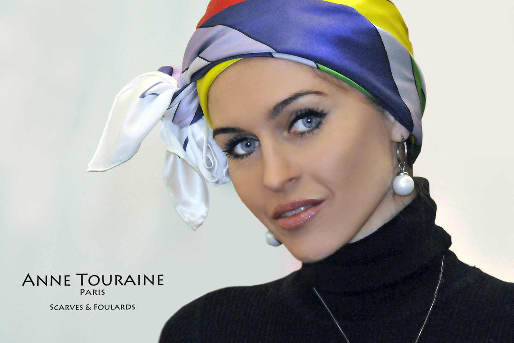 Extra large silk scarves by ANNE TOURAINE Paris™: multicolor silk satin scarf tied as large headband