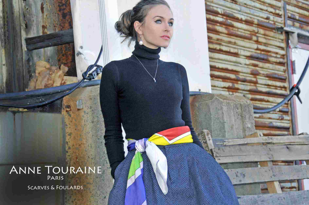 Extra large silk scarves by ANNE TOURAINE Paris™: multicolor silk satin scarf as a fancy belt