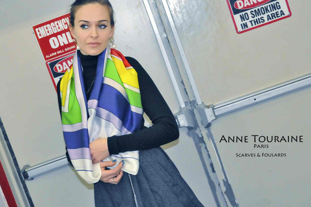 Extra large silk scarves by ANNE TOURAINE Paris™: multicolor silk satin scarf worn loose around the neck