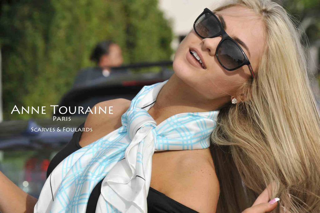 Extra large silk scarves by ANNE TOURAINE Paris™: blue and white silk satin scarf tied loose with a large knot around the neck