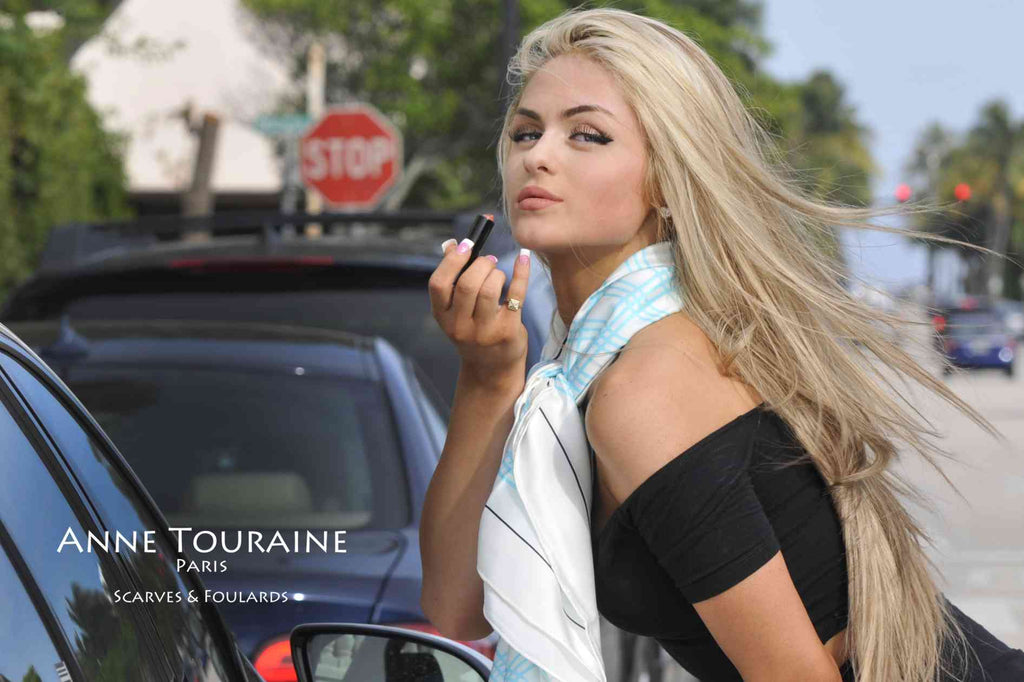 Extra large silk scarves by ANNE TOURAINE Paris™: blue and white silk satin scarf tied as a loose neck scarf