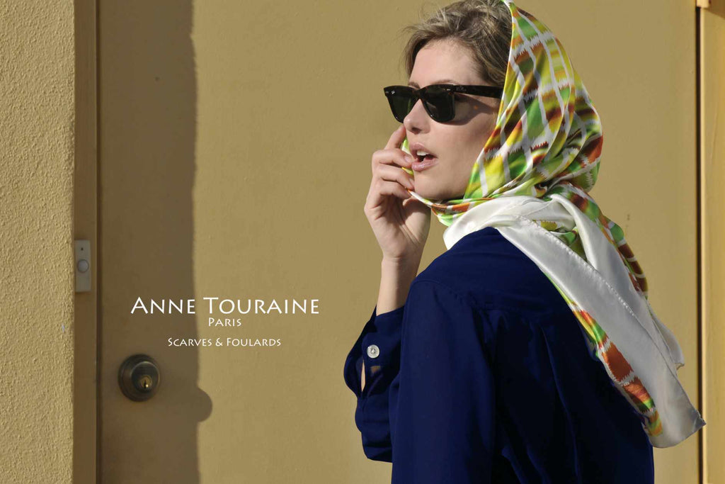 Extra large silk scarves by ANNE TOURAINE Paris™: green and brown silk satin scarf tied a headscarf