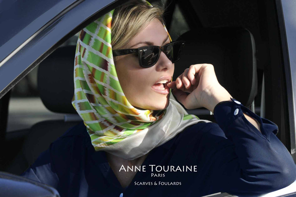 Extra large silk scarves by ANNE TOURAINE Paris™: green and brown silk satin scarf tied as a Kelly headscarf