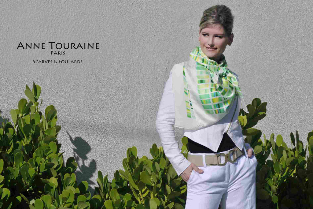Extra large silk scarves by ANNE TOURAINE Paris™: green and yellow silk satin scarf tied as a large kerchief