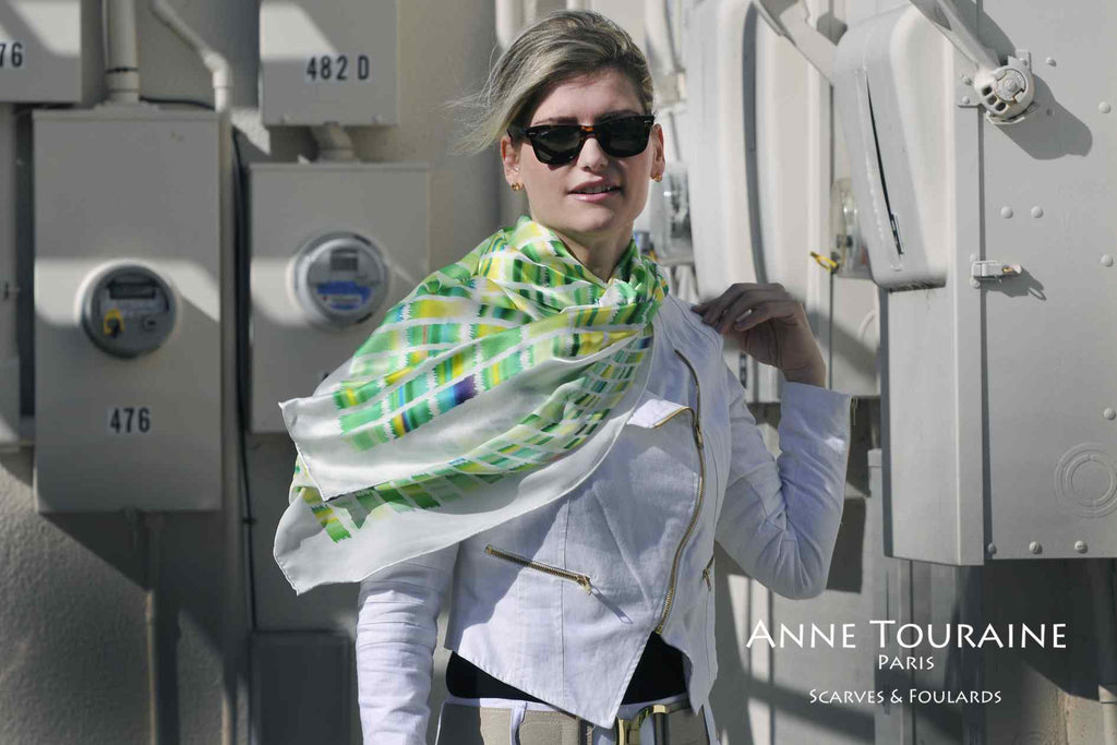 Extra large silk scarves by ANNE TOURAINE Paris™: green and yellow silk satin scarf as a casual shoulder wrap