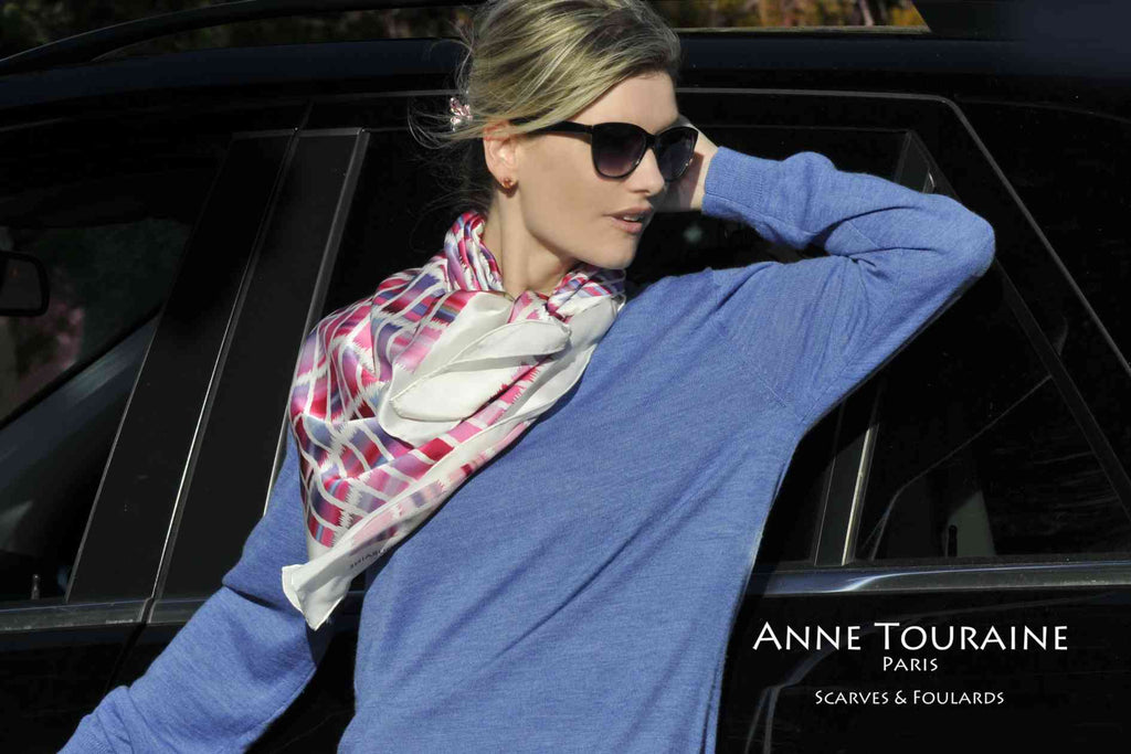 Extra large silk scarves by ANNE TOURAINE Paris™: pink and blue silk satin scarf tied to the front