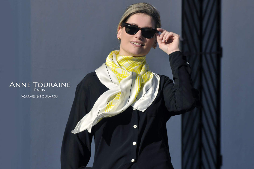 Extra large silk scarves by ANNE TOURAINE Paris™: yellow and white silk satin scarf tied to the front as a large kerchief