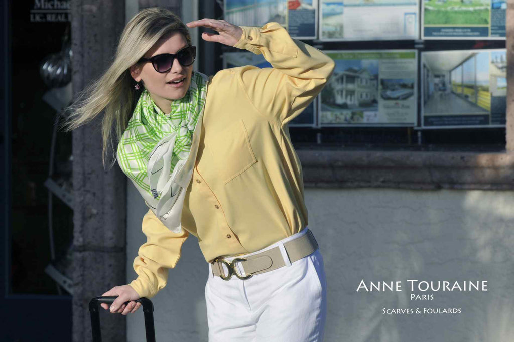 Extra large silk scarves by ANNE TOURAINE Paris™: green and white silk satin scarf tied as large kerchief