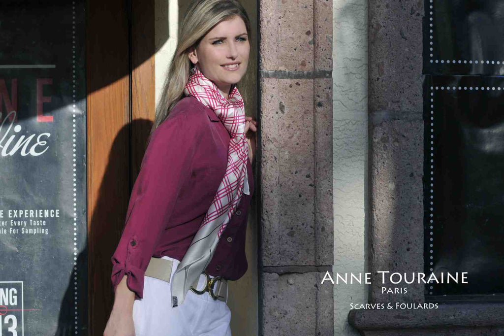 Extra large silk scarves by ANNE TOURAINE Paris™: pink and white satin silk scarf tied European loop way.