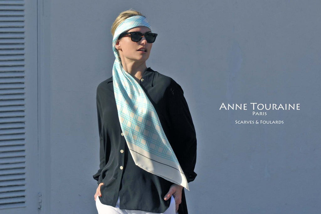 Extra large silk scarves by ANNE TOURAINE Paris™: blue and white silk satin scarf tied as large and low headband