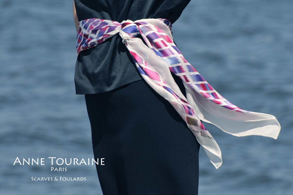 Extra large silk scarves by ANNE TOURAINE Paris™: pink and blue silk satin scarf tied as striking belt