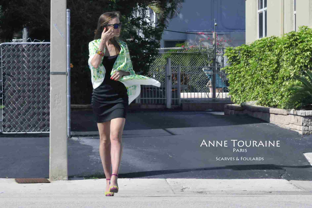 Extra large silk scarves by ANNE TOURAINE Paris™: green and white silk satin scarf tied as shawl