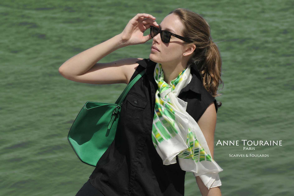 Extra large silk scarves by ANNE TOURAINE Paris™: yellow and green silk satin scarf tied with a simple knot around the neck