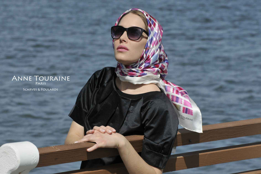 Extra large silk scarves by ANNE TOURAINE Paris™: pink and blue silk satin scarf tied as a summer headscarf