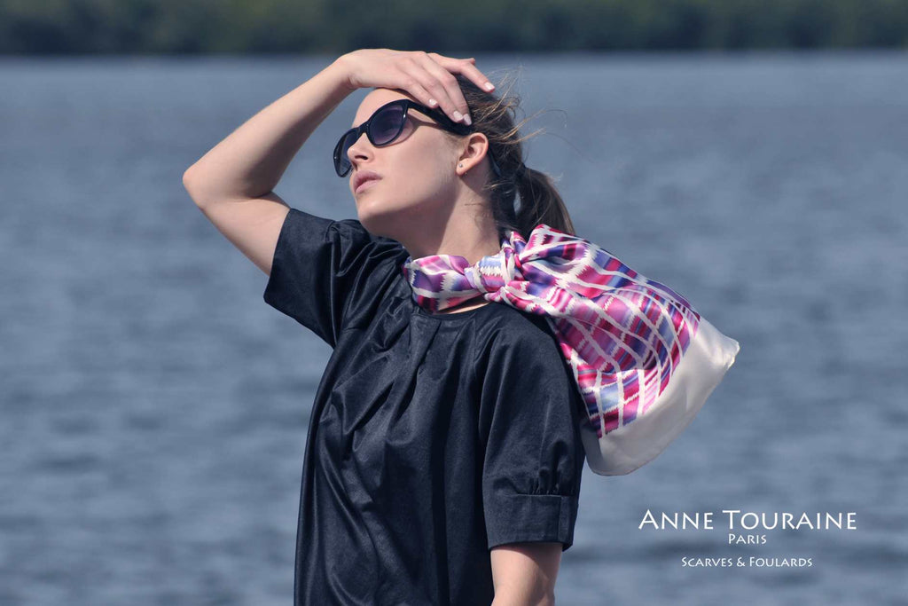 Extra large silk scarves by ANNE TOURAINE Paris™: pink and blue silk satin scarf as a flowing neck scarf