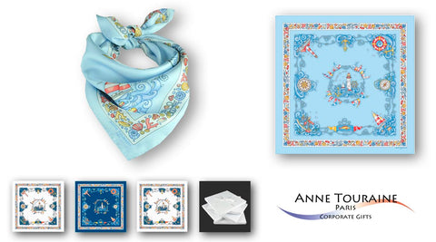 corporate gifts for women executives - Nautical silk scarves by Anne Touraine Paris™