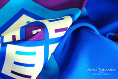 High end silk scarves: vibrant blue and purple color