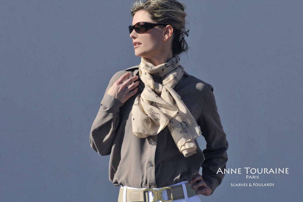 Chiffon silk scarves by ANNE TOURAINE Paris™: Beige dog pattern scarf, double wrap around the neck
