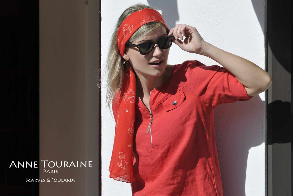 Chiffon silk scarves by ANNE TOURAINE Paris™: red cat pattern scarf as a long headband