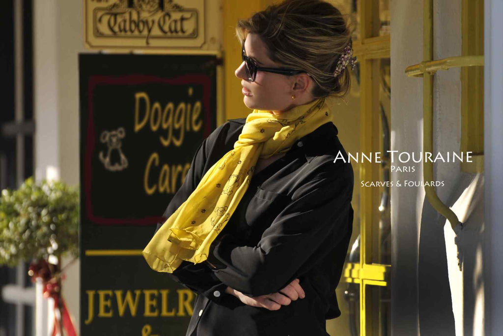 Chiffon silk scarves by ANNE TOURAINE Paris™: yellow dog pattern scarf European loop
