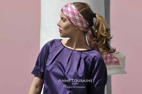 Extra large pink and white silk scarf by ANNE TOURAINE Paris™. A summer must-have!
