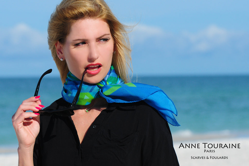 Extra large silk chiffon scarves by ANNE TOURAINE Paris™: green and blue looped twice around the neck and tied to the front