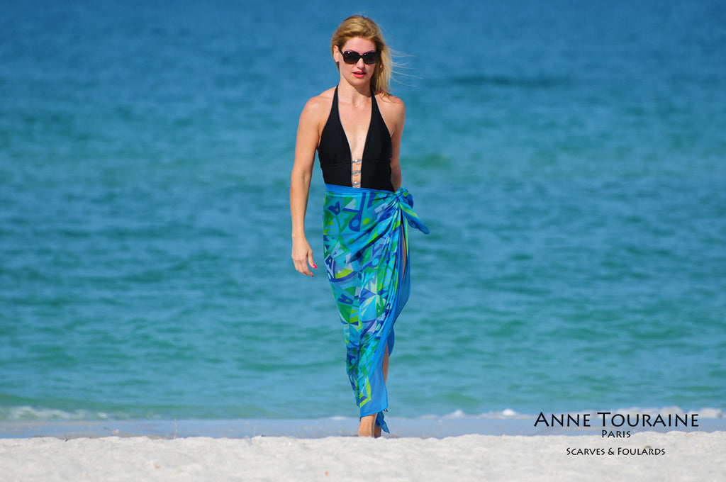Extra large silk chiffon scarves by ANNE TOURAINE Paris™: green and blue scarf tied around the waist as a long sarong