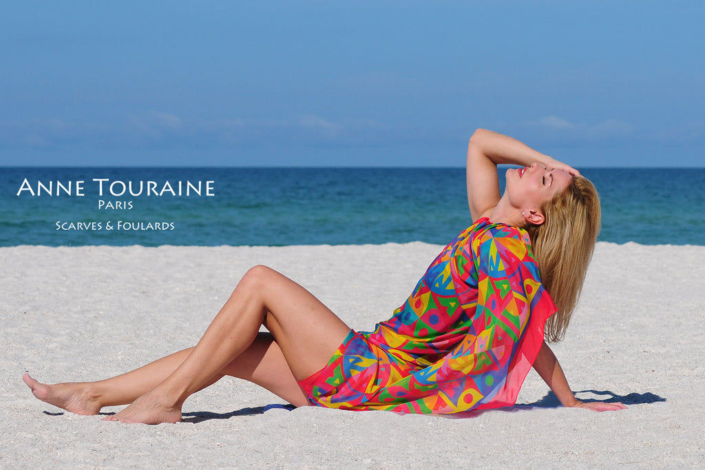 Extra large silk chiffon scarves by ANNE TOURAINE Paris™: multicolor scarf tied tied as a swimsuit cover up