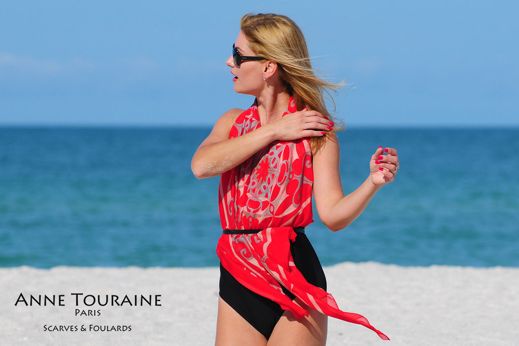 Extra large silk chiffon scarves by ANNE TOURAINE Paris™: red scarf tied as a halter top under a belt