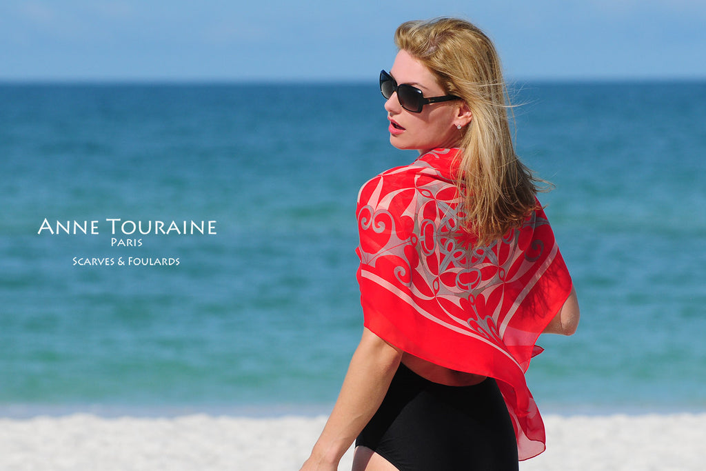 Extra large silk chiffon scarves by ANNE TOURAINE Paris™: red scarf wrapped around the shoulders