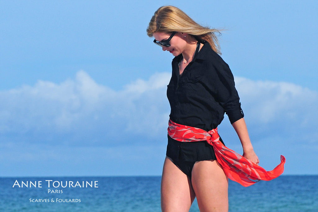 Extra large silk chiffon scarves by ANNE TOURAINE Paris™: orange scarf as a belt