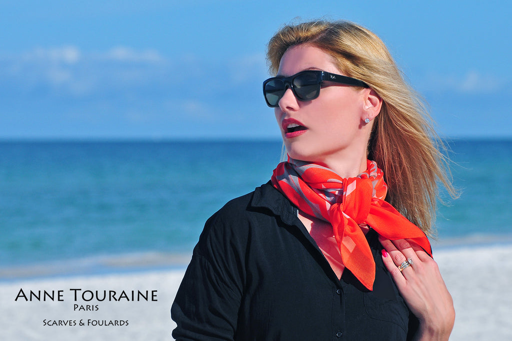 Extra large silk chiffon scarves by ANNE TOURAINE Paris™: orange scarf tied as a fluffy neck scarf