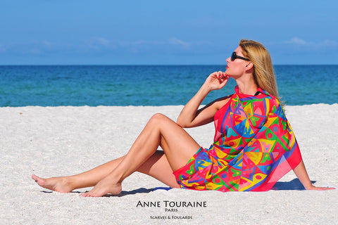 Extra large silk chiffon scarves by ANNE TOURAINE Paris™: multicolor scarf tied as a beach dress