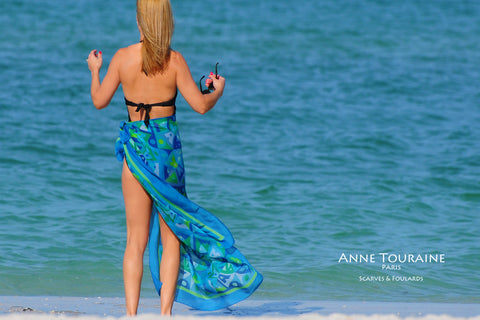 Extra large silk chiffon scarves by ANNE TOURAINE Paris™: green and blue scarf tied as a sarong