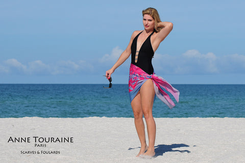 Extra large silk chiffon scarves by ANNE TOURAINE Paris™: pink and blue scarf tied as a short sarong